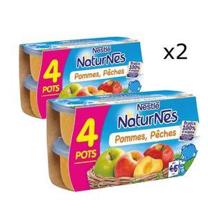COMPOTE DESSERT FRUITÉ [LOT DE 2] NESTLÉ Naturnes Pommes pêches - 4x130 g