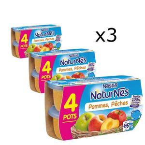 COMPOTE DESSERT FRUITÉ [LOT DE 3] NESTLÉ Naturnes Pommes pêches - 4x130 g