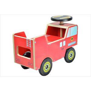 PORTEUR - POUSSEUR Porteur bois bébé Camion Pompier rouge