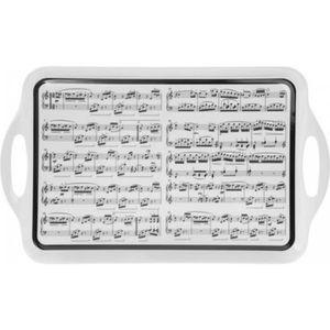 PLAT DE SERVICE Grand plateau 'Musique' blanc noir - 48.5x29.5 cm