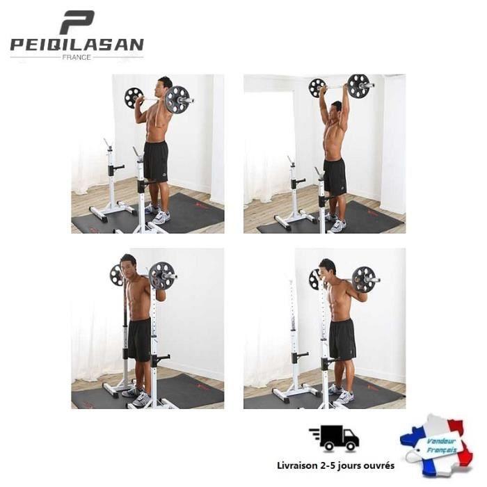 PEIQI. Cage de Squat Blanc - Charge Max.150kg - Support de Squat Réglable - Rack Avec Barre de Support pour Haltères