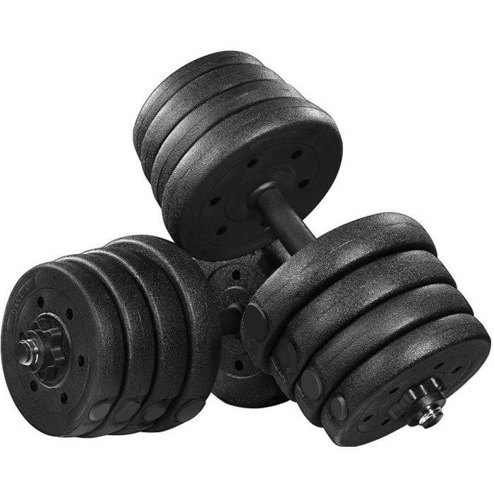 BESPORTBLE Haltère 30kg Poids Ajustables, Lot de 2 Kit Haltères 30 kg (Noir)