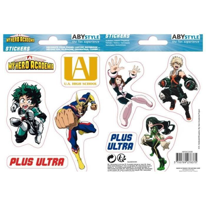 Stickers My Hero Academia - 16x11cm / 2 planches - UA High School - ABYstyle