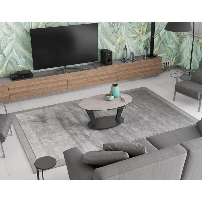 Table basse 2 plateaux pivotants ovales - céramique argile et verre - L95 x P60 x H43 cm