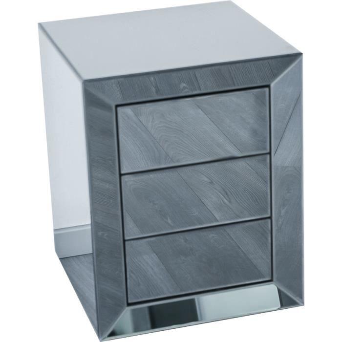 Table de chevet ultra design en miroir anthracite avec 3 tiroirs push open L. 45 x P. 45 x H. 58 cm collection LENNA Gris