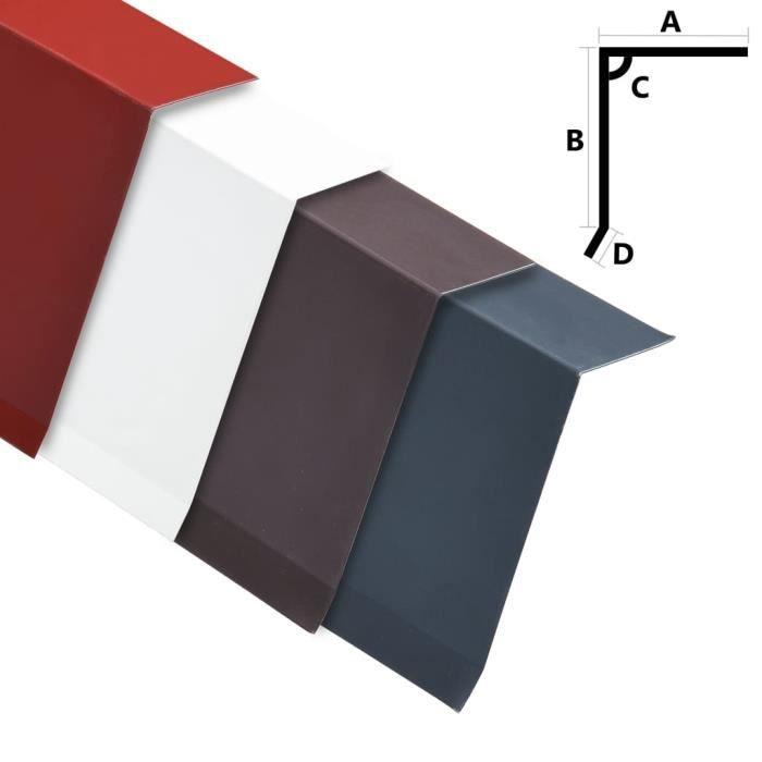 Décor Lot de 5 Tôles de bord de toit en L Design Moderne - Aluminium - Blanc 170 cm ♫3918