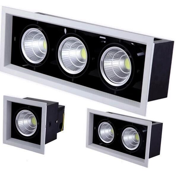 Spot lumineux Led encastrable pour le plafond, éclairage d'intérieur, lumière à Double i blanc chaud 10W Black dimmable -GZ19788