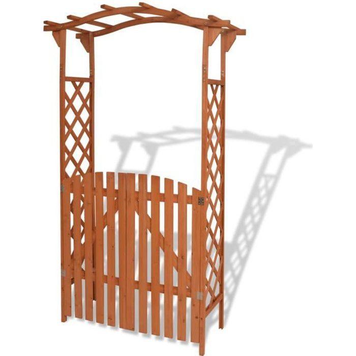 Pre•8297Arche pour jardin Voûte de jardin Elégant-Arche de jardin-Arceau à Rosiers Pergola à appentis avec portique Bois massif 120