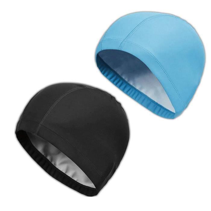 2 pièces de bonnet de bain bonnet de bain adulte bonnet de bain tissu PU doux mélangé bonnet de bain adulte homme et femme