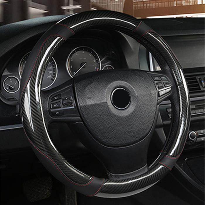 Couvre volant,Housse de volant noir fibre de carbone couture universelle confortable ensemble d'outils noir Cool élégant se sent