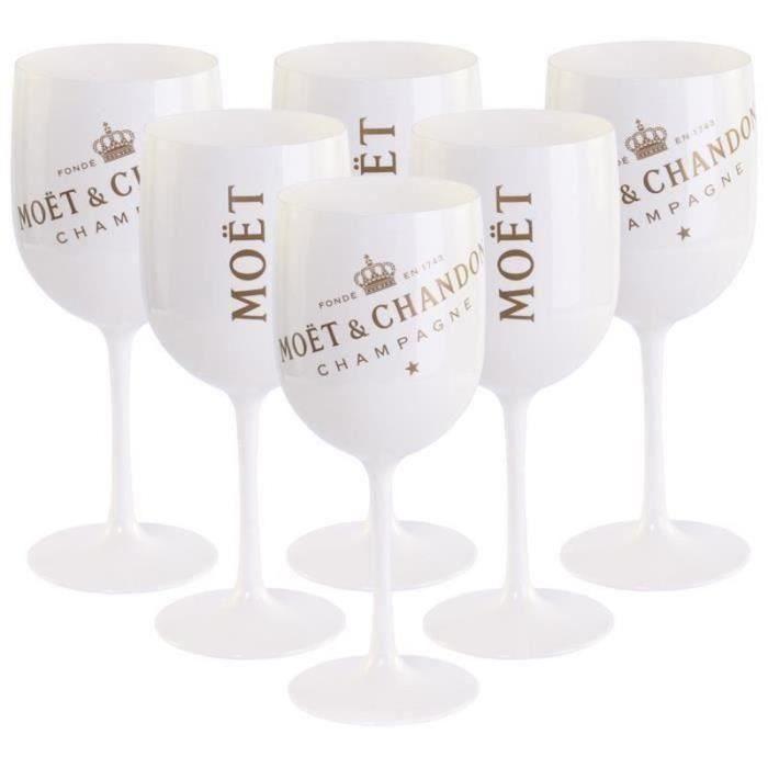 6 Verres à vin,Moët Chandon Champagne,blanc-or en acrylique Gobelet