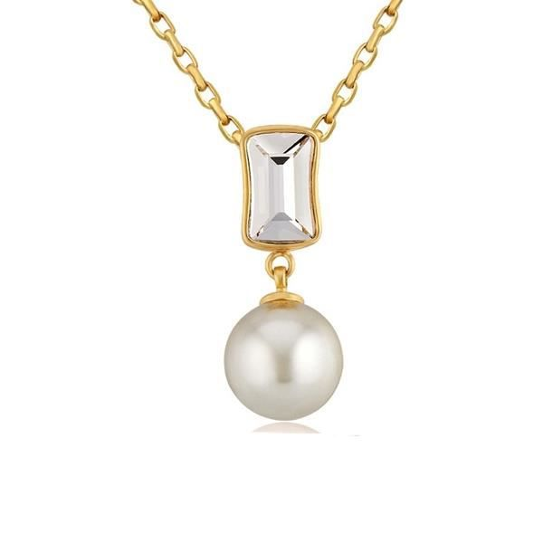 Pendentif Perle et Cristal de Swarovski Element Blanc et Plaqué or jaune