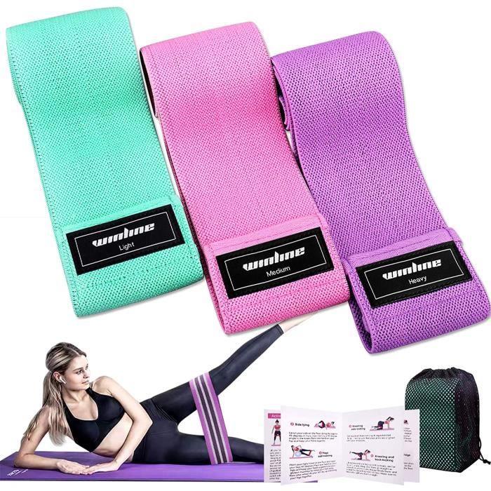 Bande Élastique Fitness Set de 3, Bande de Résistance pour Yoga, Pilates, Rééducation Physique, Resistance Band pour Musculation ave
