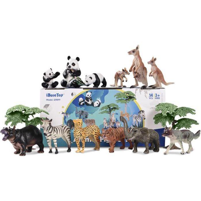 IbaseToy 14 Pièces Figurines Animales Ensemble Jouets Réalistes Modèles figurine miniature - personnage miniature monde miniature