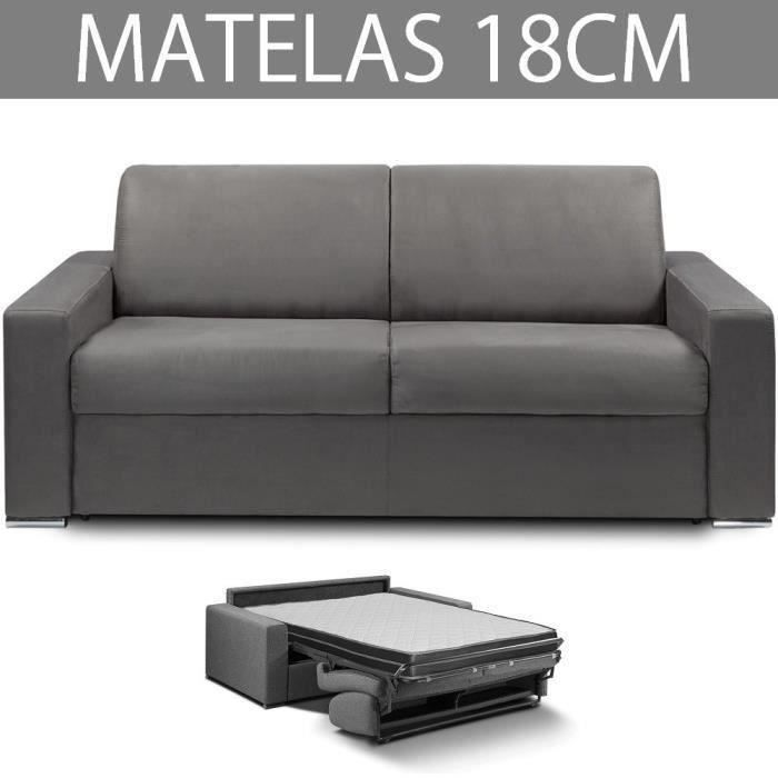 Canapé convertible EXPRESS 3 places en microfibre gris graphite - Couchage 140cm - Epaisseur matelas 18cm - MASTER