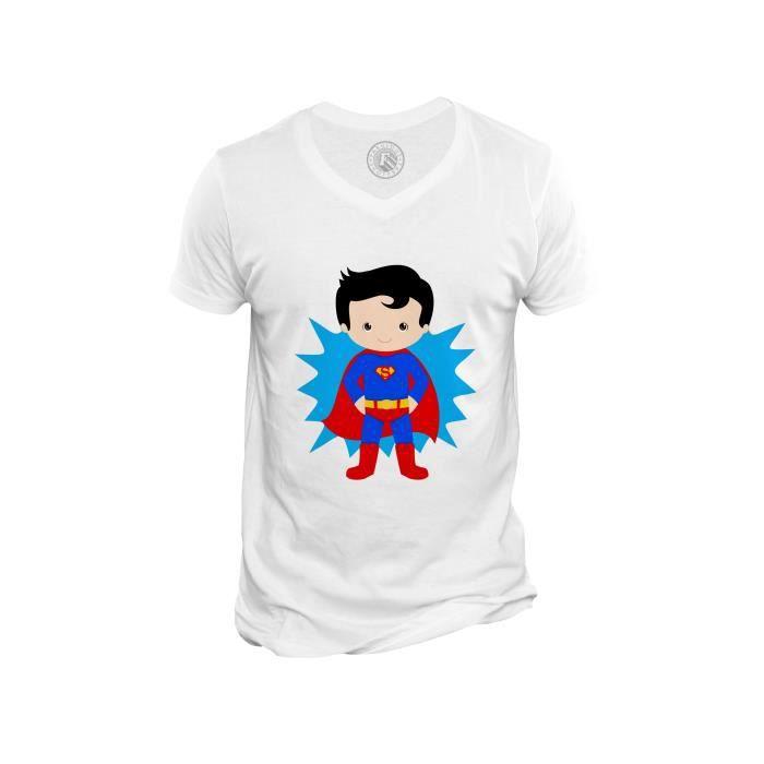 T-shirt Homme Col V Superboy Superman Garcon Enfant Dessin Mignon Super Hero
