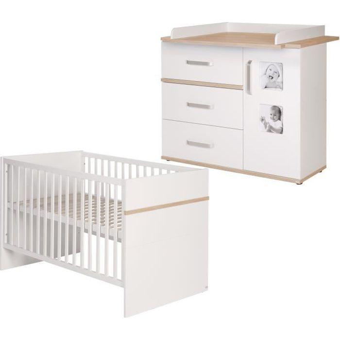 ROBA Ensemble de meubles bébé -Pia-, lit bébé 70x140 cm, commode á langer, blanc-chen -San Remo-