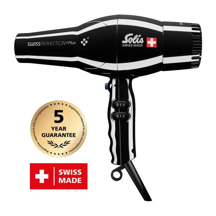 Sèche-cheveux - Technologie Ionique - Noir - Swiss Perfection Plus 3801 Solis