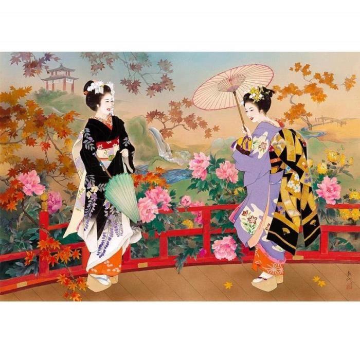 Peinture au diamant Japonais Femme Paysage de Fleurs DIY 5d Plein Diamant Peinture Point De Croix Diamant Broderie Noël LF789787