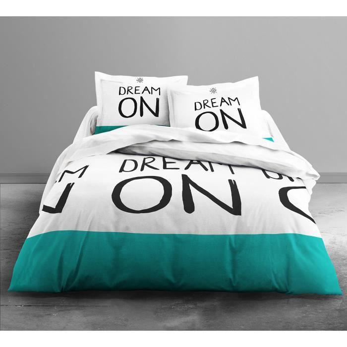 TODAY HC3 Coton 57 Fils Enjoy Dream On Color Parure de Lit 2 Personnes Enjoy Dessin Dream On Color Housse de Couette 220x240 cm +
