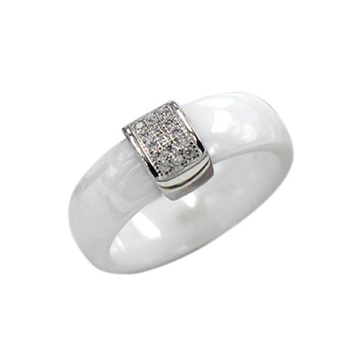 Exquise Rond S925 Argent Bague en Céramique CZ diamant décoré Pour Femmes Blanc Taille 6