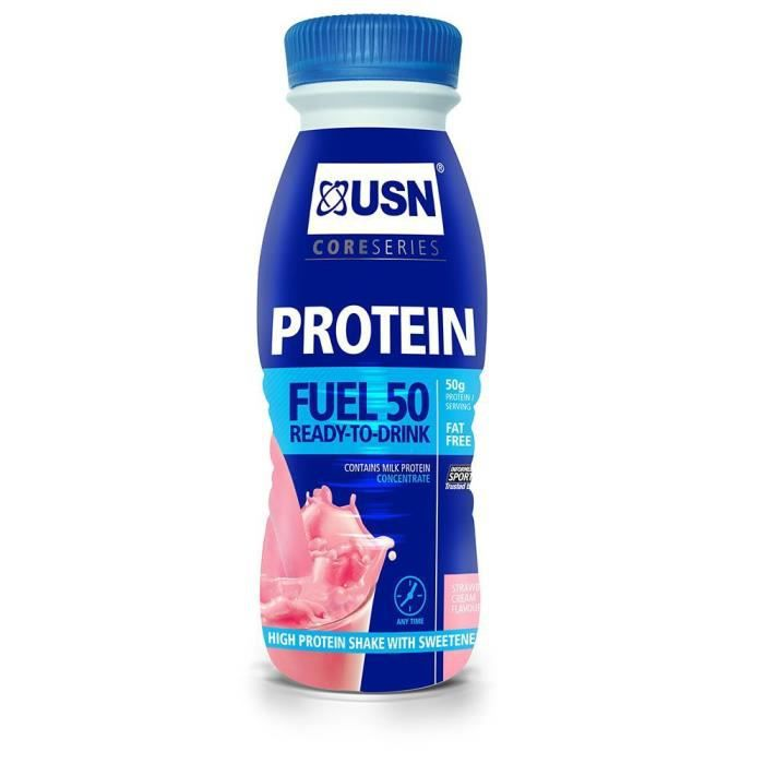 Lot de 6 boissons Fraise 500mL USN Trust Protein Fuel 50 - bleu - TU