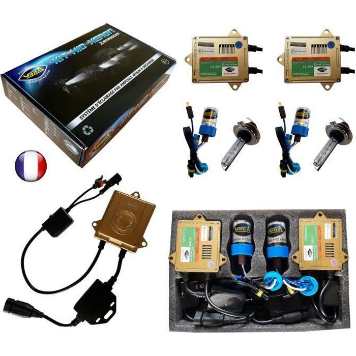 Kit HID Xénon Marque FRANCAISE Vega® H7 4300K 55W Canbus anti erreur ODB Conception ASIC ampoules à embase métallique