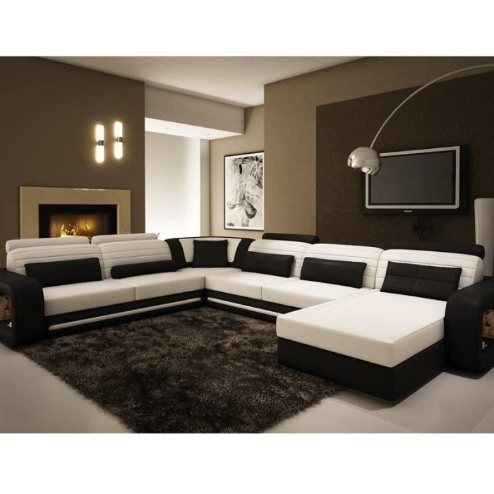 canap d 39 angle panoramique en cuir noir et blanc achat vente canap sofa divan cuir. Black Bedroom Furniture Sets. Home Design Ideas
