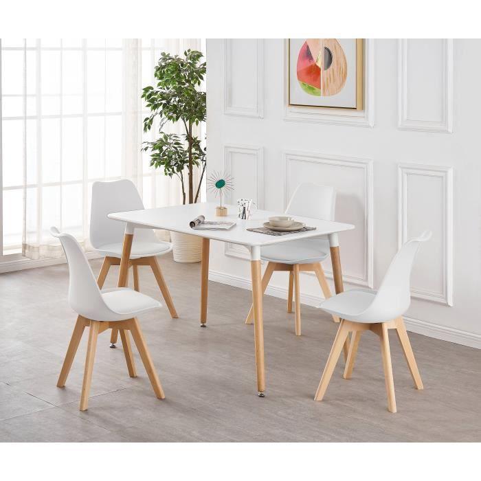 Ensemble Table De Salle à Manger Complet Table Blanche 4 Chaises Blanches Design Scandinave Cuisine Salon Bureau