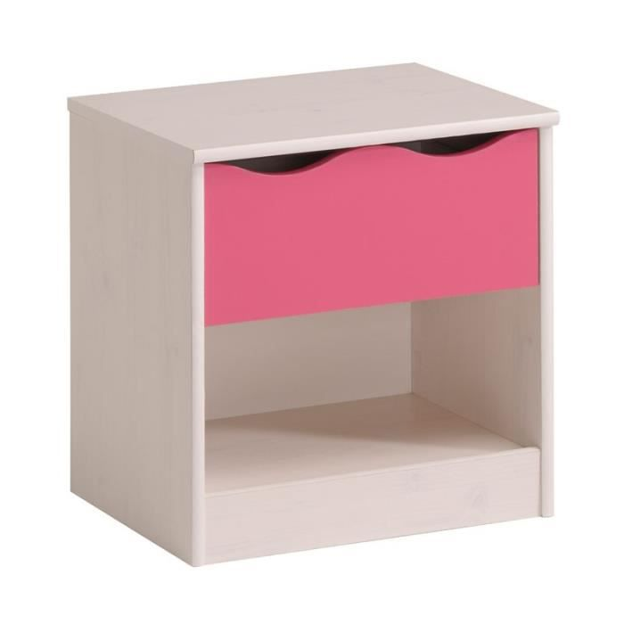 table de chevet 1 tiroir blanc rose lola l 45 x l 33 x h 46 cm achat vente chevet table. Black Bedroom Furniture Sets. Home Design Ideas