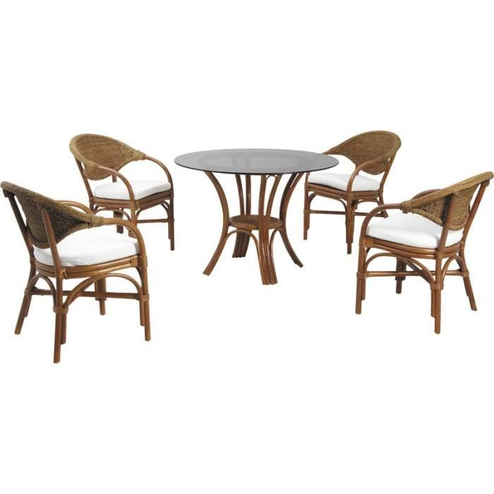 Ensemble salle manger table ronde avec plateau verre for Ensemble table a manger