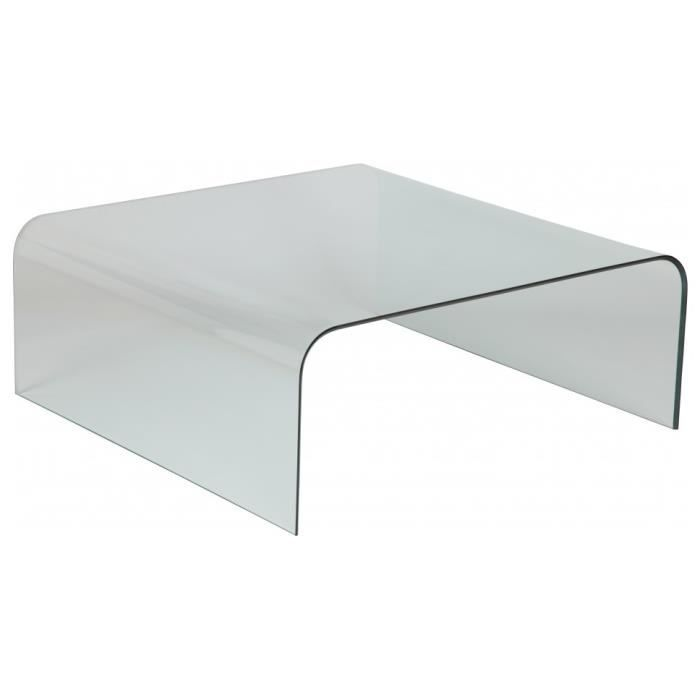 Table basse design verre courb carr achat vente - Table basse verre carree ...