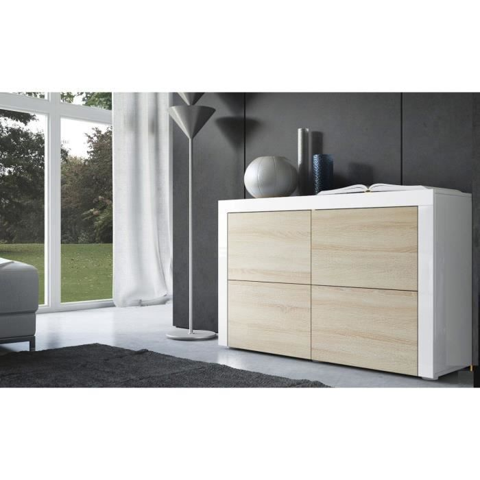 commode blanc et bois brut 110cm achat vente commode. Black Bedroom Furniture Sets. Home Design Ideas