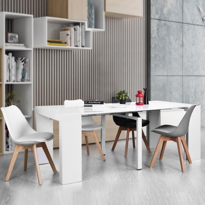 Table Console extensible - Table de salle à manger - Style Scandinave - L  45.5 à 200 cm - Blanc