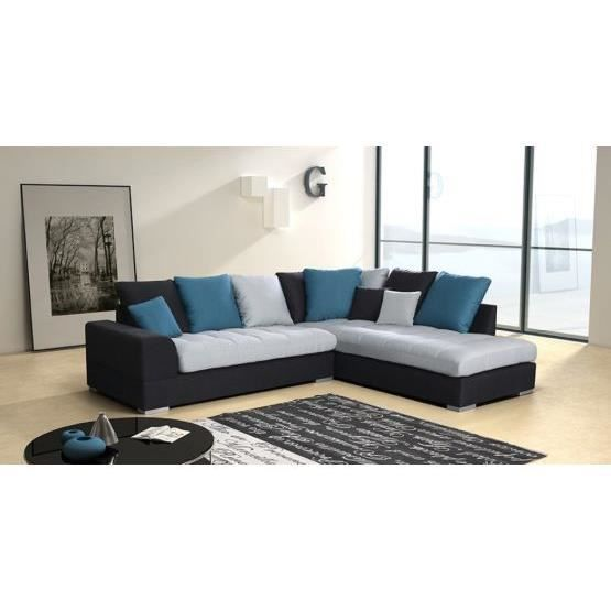 canap angle design fiorenzo bleu droit achat vente canap sofa divan polyur thane. Black Bedroom Furniture Sets. Home Design Ideas