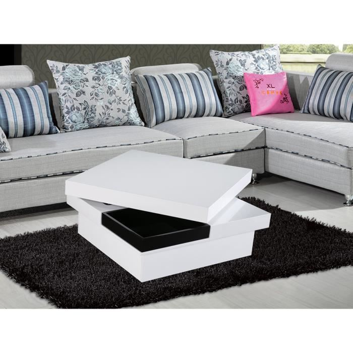 table basse carr e carla en mdf laqu blanc et noir achat vente table basse table basse. Black Bedroom Furniture Sets. Home Design Ideas
