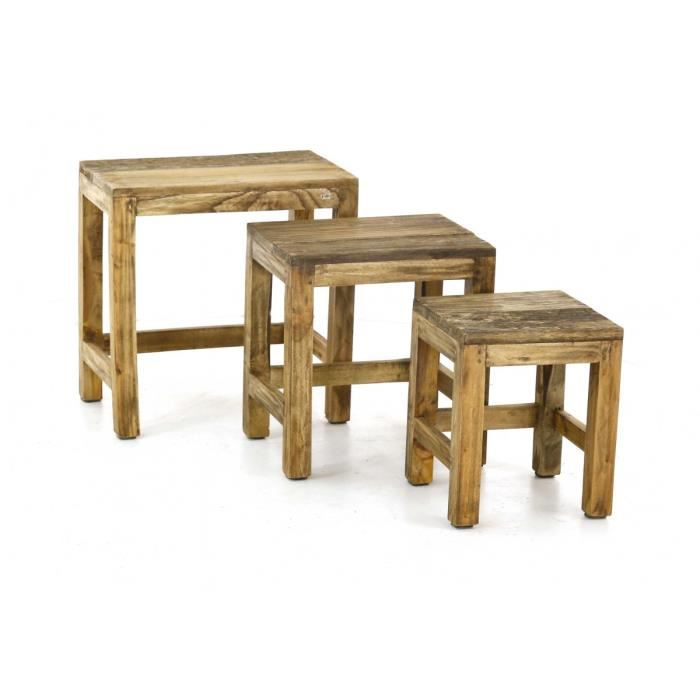 tables basses gigognes bois recycl noldor achat vente table basse tables basses gigognes. Black Bedroom Furniture Sets. Home Design Ideas