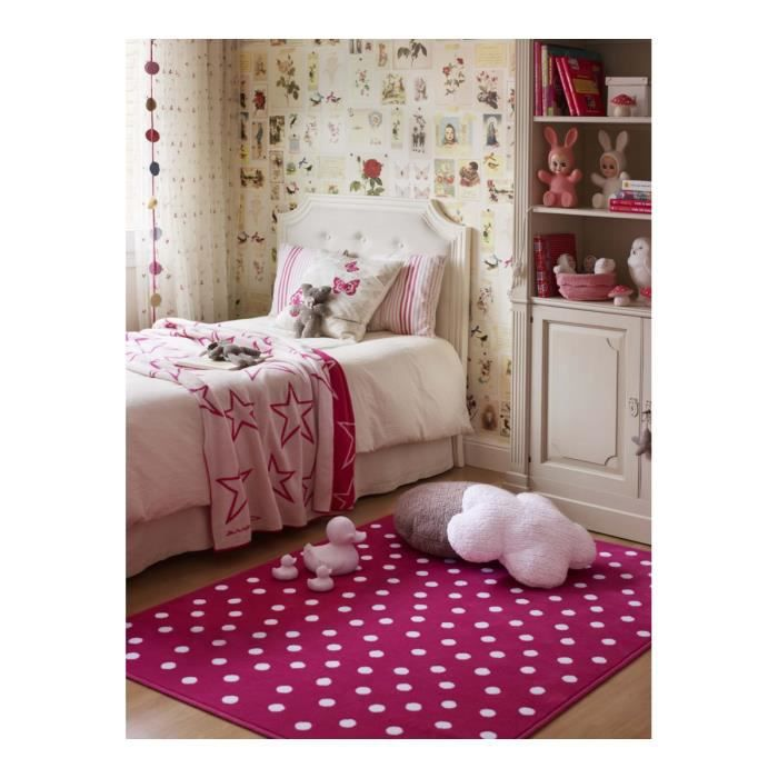 tapis fuschia pour chambre d 39 enfant dots lorena canals 120x160cm fuschia achat vente. Black Bedroom Furniture Sets. Home Design Ideas