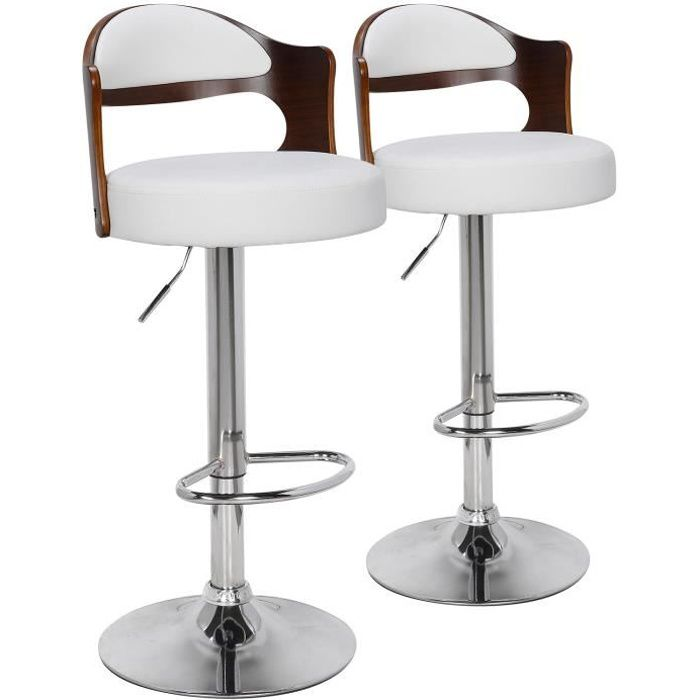 lot de 2 chaises de bar ruben bois noisette blanc achat vente tabouret de bar les soldes. Black Bedroom Furniture Sets. Home Design Ideas