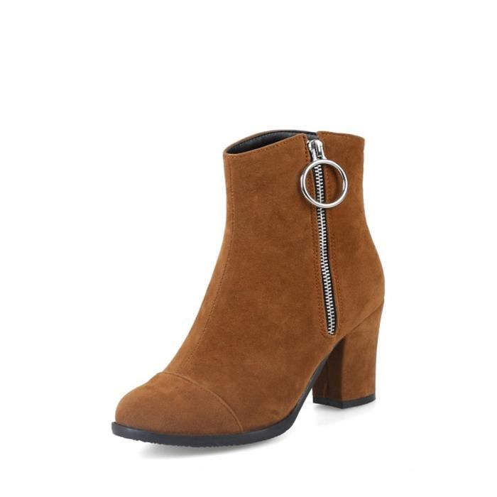 Bottines Carré Élégant Talon Trendy Couleur Solide Ladylike gp5wqSx