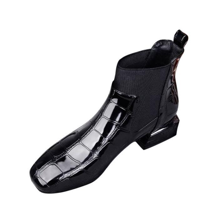 Femmes bottines vernies talons hauts compensés à bout pointu chic Zipper Casual Chaussures