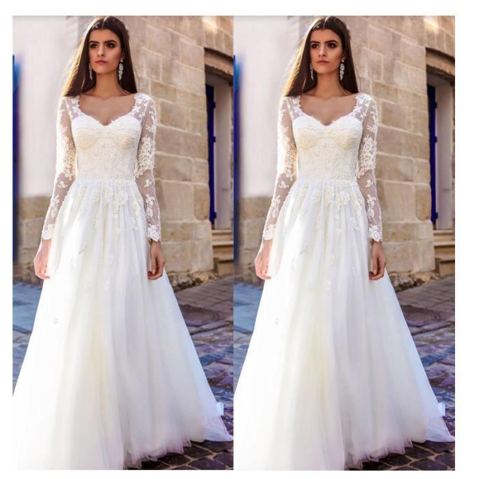 Boho Longue Manches Robe de Mariage Élégant
