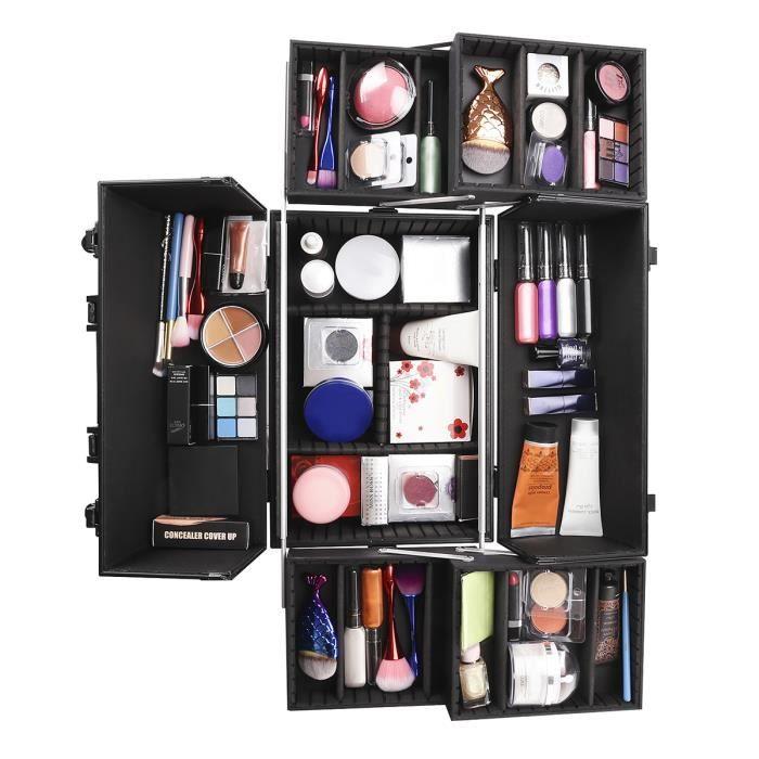 Ovonni Coffret Maquillage Mallette de Maquillage Valise de Maquillage Vanity-Case Professionnelle en Aluminium avec Serrure D/élicate et Cl/é pour Studio Beaut/é Bo/îte de Rangement Maquillage Cosm/étique