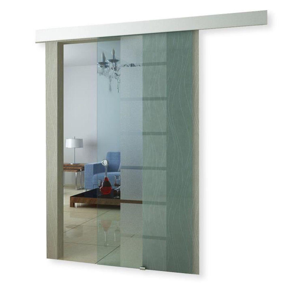 Porte coulissante en verre à galandage Transparent - Achat / Vente