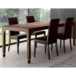 TABLE À MANGER SEULE Table industrielle en bois massif et métal WILLIAM