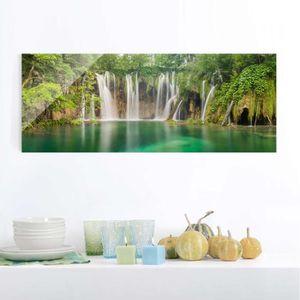 CADRE PHOTO 40x100 cm verre image - cascade des lacs de plitvi