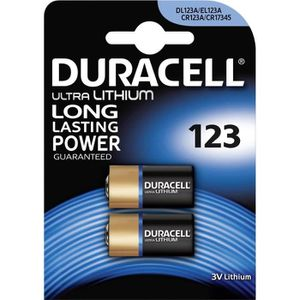 PILES 2x Batterie 123 Duracell 3V Ultra Lithium - DL123A