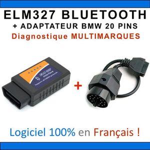 OUTIL DE DIAGNOSTIC Interface ELM327 BLUETOOTH + ADAPTATEUR BMW 20 PIN