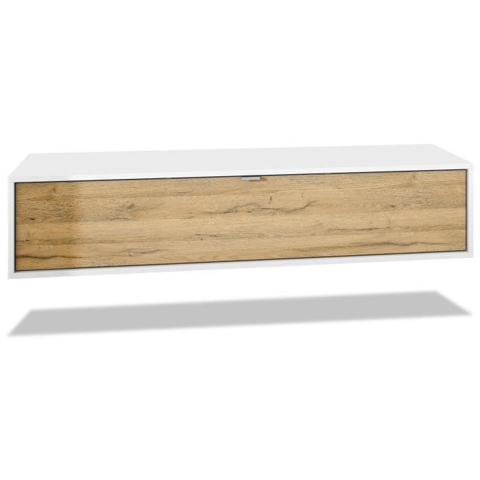 Meuble TV Lana 140 armoire murale lowboard 140 x 29 x 37 cm, caisson en Noir mat, façades en Chêne Nature