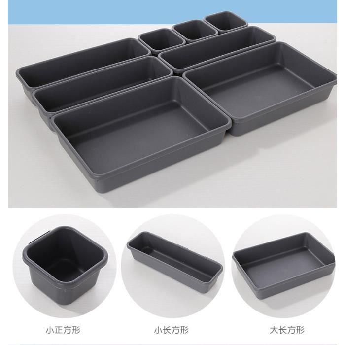 Boîte de rangement Tiroir de rangement créatif Combinaison sans séparation en plastique de petits objets 8 grilles, noir